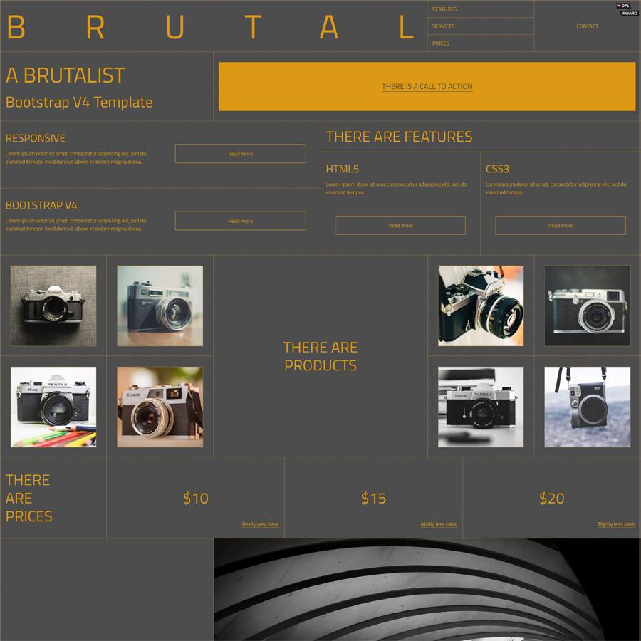 Brutal - A Brutalist Bootstrap v4 HTML Template